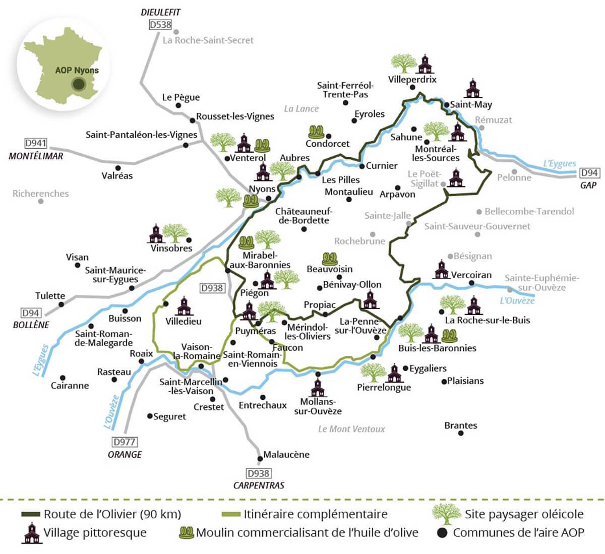 Kaart van de Route de l'Olivier